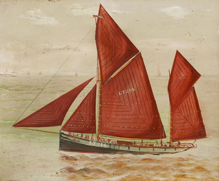 English naïve school, early 20th century The Lowestoft Trawler 'Mizpah', Lt214 Oil on board
