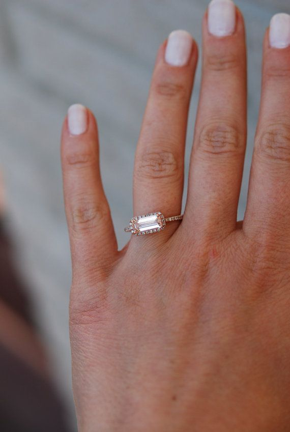 On Hold Till 29th Peach Champagne Sapphire Ring Diamond