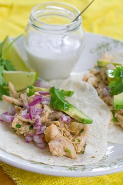 Coconut-Lime Pulled Chicken Tacos