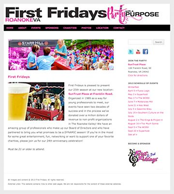 First Fridays Roanoke. Customized WordPress theme with slideshow. Design by Sue England Design at www.senglanddesign.com.