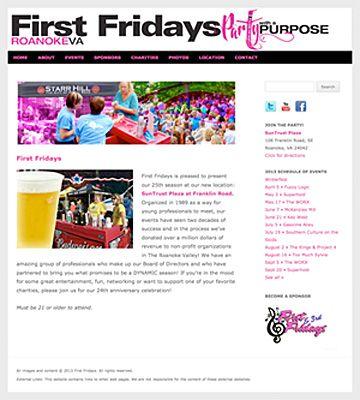 First Fridays Roanoke. Customized WordPress theme with slideshow. Design by Sue England Design at www.senglanddesign.com.