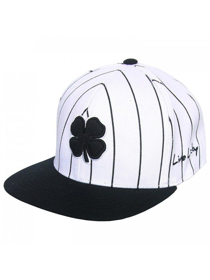 Lucky Stripe Flat Bill Fitted Golf Hat- Brand New - White Black -  CS12KUFOWBJ - Hats   Caps 6a15fcb259