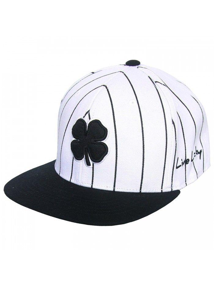 Lucky Stripe Flat Bill Fitted Golf Hat- Brand New - White Black -  CS12KUFOWBJ - Hats   Caps d4d27943842