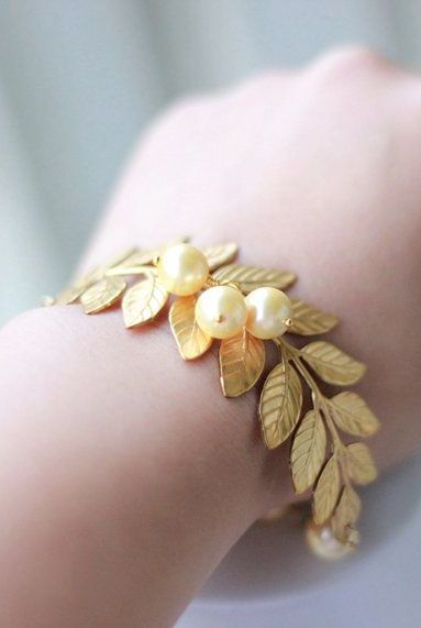Gold Leaf Bracelet with Gold and Swarovski Pearls.