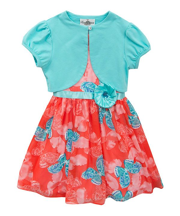Look at this Orange & Turquoise Butterfly Dress & Cardigan - Girls on #zulily today!
