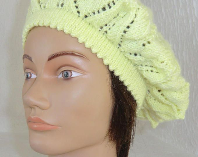 Béret ou Bonnet - Hiver ou été - Femme - En laine - Coloris jaune - Point fantaisie ajouré - Tricoté à la main