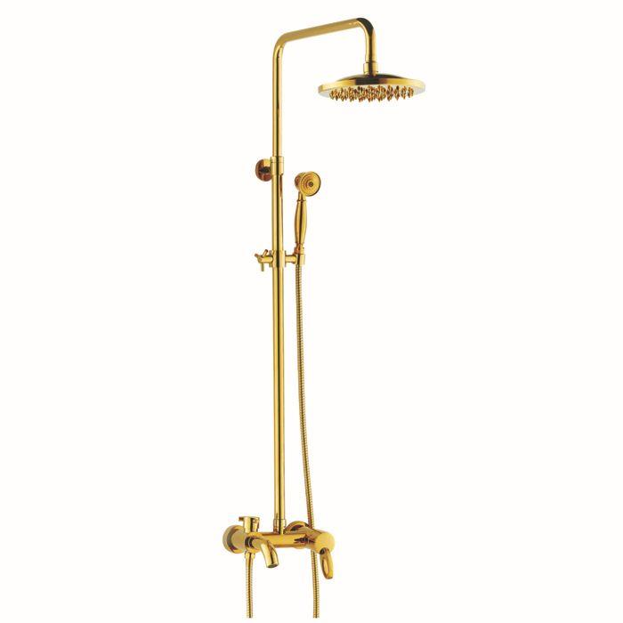 BECOLA Бесплатная доставка роскошный набор для душа золотой цвет душевой комплект двуглавый душ круглый дождь насадки для душа hy-855