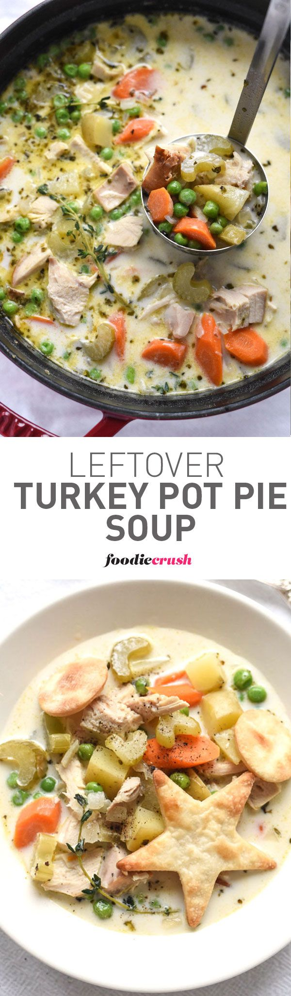 I've turned my favorite way to use up leftover turkey from my favorite baked pot pie to a totally comforting slurpable soup | foodiecrush.com
