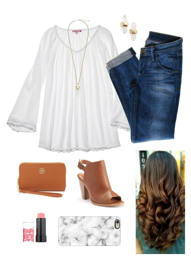 """Chic top & cute booties!"" by dancetx ❤ liked on Polyvore featuring Calypso St. Barth, Hudson Jeans, LC Lauren Conrad, Kendra Scott, Tory Burch, Maybelline, Casetify, women's clothing, women and female"