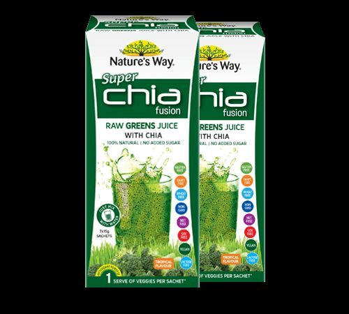 It's a delicious healthy drink combining the goodness of raw greens juices WITH chia seeds. It's a nutritious superfood blend of nature's best nutrients- in a convenient sachet. So you can get all the health and vitality of a fresh juice bar every day!