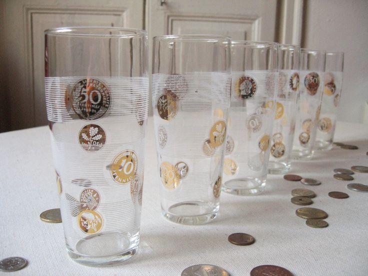 6 Grands verres rétro / Motif pièces de monnaie ancienne / Or et blanc / Vaisselle vintage / Verre à eau / Numismatique Europe / LMsoVintage de la boutique LMsoVintage sur Etsy
