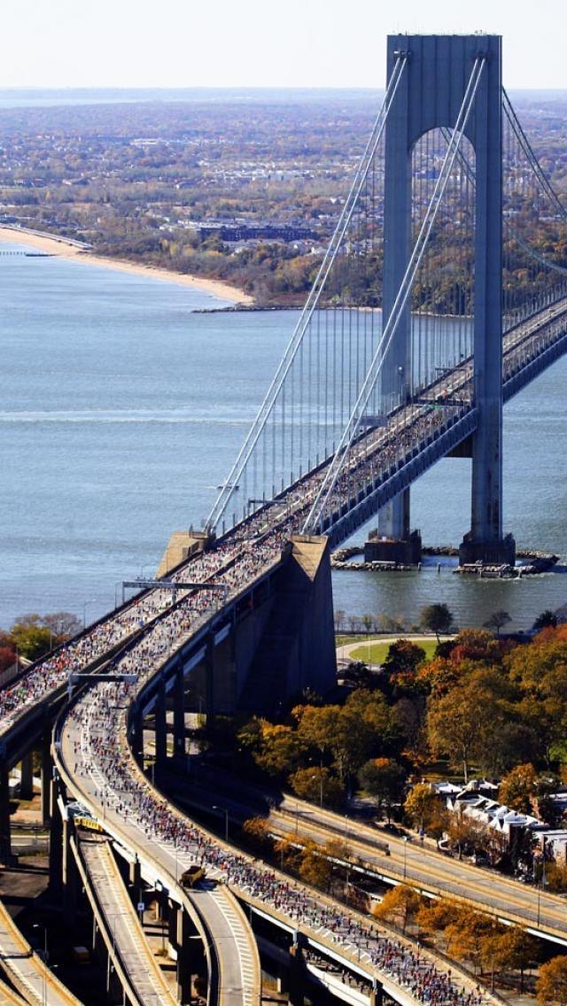 new york, city, marathon, Verrazano bridge, world, Landscapes, Architecture