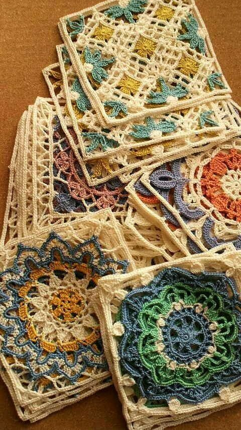 Very nicely done #crochet granny squares. Those make me think of that being a nice table cloth pattern. Maybe something decorative that you use in between meals.. :)