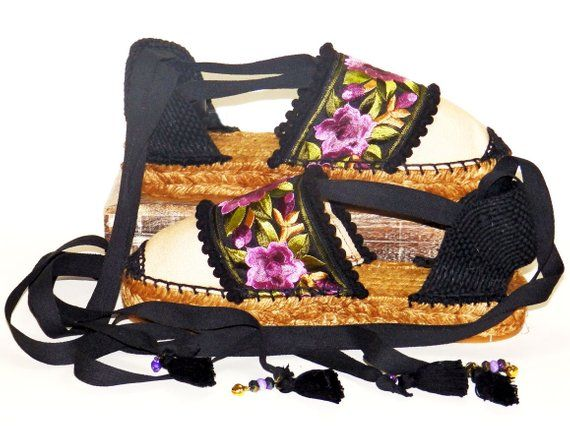9f6a66d87f4 Platform espadrilles decorated with floral ethnic embroidery Organic ...