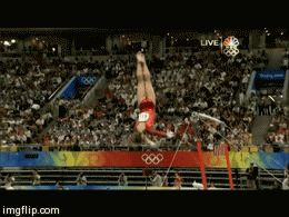 Shawn Johnson gif. 2008 Olympics All Around Uneven Bars dismount
