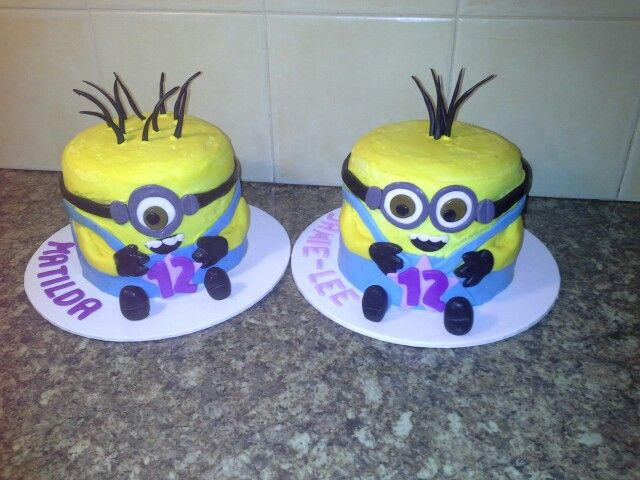 Mini minion cakes for Matilda and Jamie-Lee with rainbow/chocolate checkerboard cake inside.