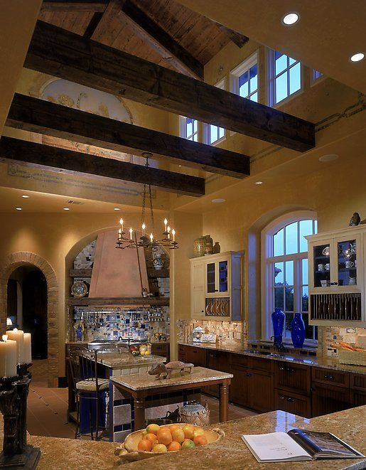 Exposed beams vaulted ceiling my new ashley home for Wood beam ceiling kitchen