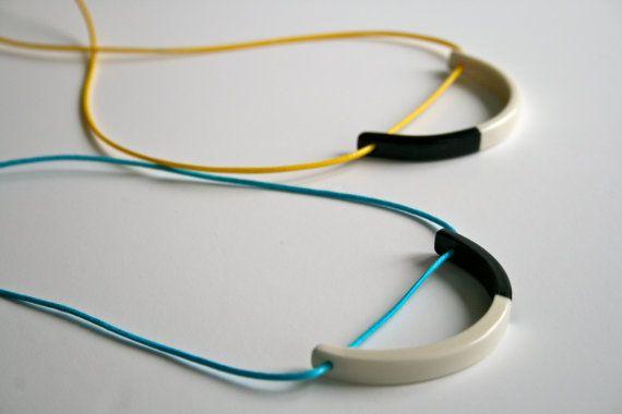 Porcelain pendant monochrome necklace in by ElisabethBCeramics