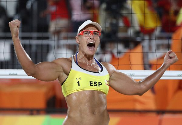 Liliana Fernandez Steiner of Spain celebrates during the Women's Beach Volleyball preliminary round Pool B match against Barbora Hermannova and Marketa Slukova of Czech Republic on Day 3 of the Rio 2016 Olympic Games at the Beach Volleyball Arena on August 8, 2016 in Rio de Janeiro, Brazil.