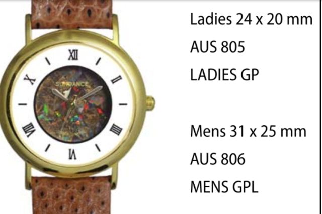 "Australian ""Boulder"" Opal Watches style 806 Mens GPL 31 x 25 mm each click here to add to cart"