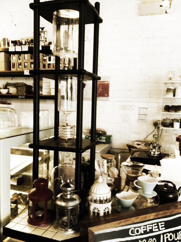 Digging the drip coffee set up.. Looks like a chemistry set.. at Smitten coffee & tea bar at the Quayside- 60 Robertson Quay