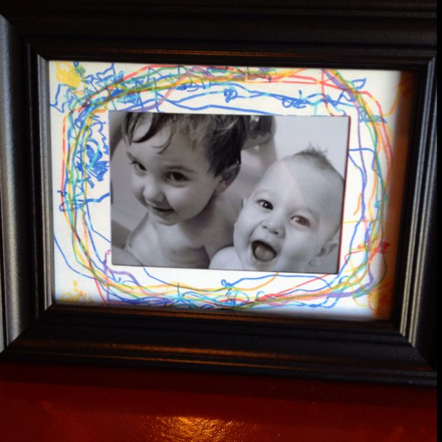 $3 picture frame from Wal-Mart, an artistic 2 1/2 yr old, and a picture I printed off this morning. Simple, cheap, unique, and semi-handmade birthday present for my Mother-in-Law.