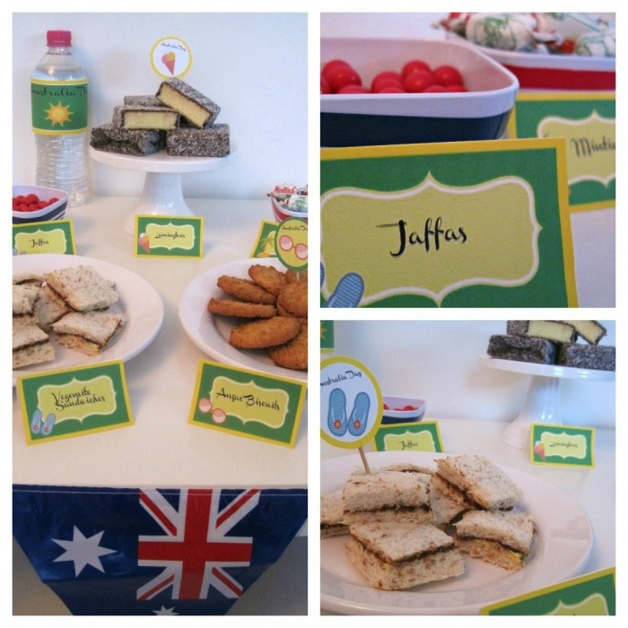 Aussie party food! Jaffas, Vegemite sandwiches, Anzac biscuits, lamingtons, meat pies, fairy bread, etc.