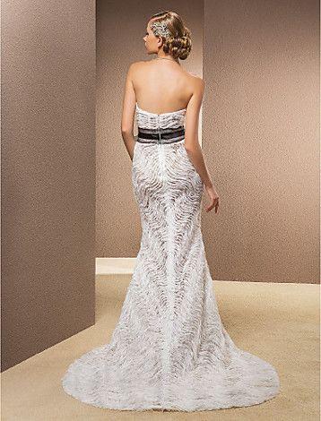Vestido de Noiva Sereia Sem Alças/Coração Cauda Corte (Renda/Cetim/Tule) - BRL R$ 1.196,97