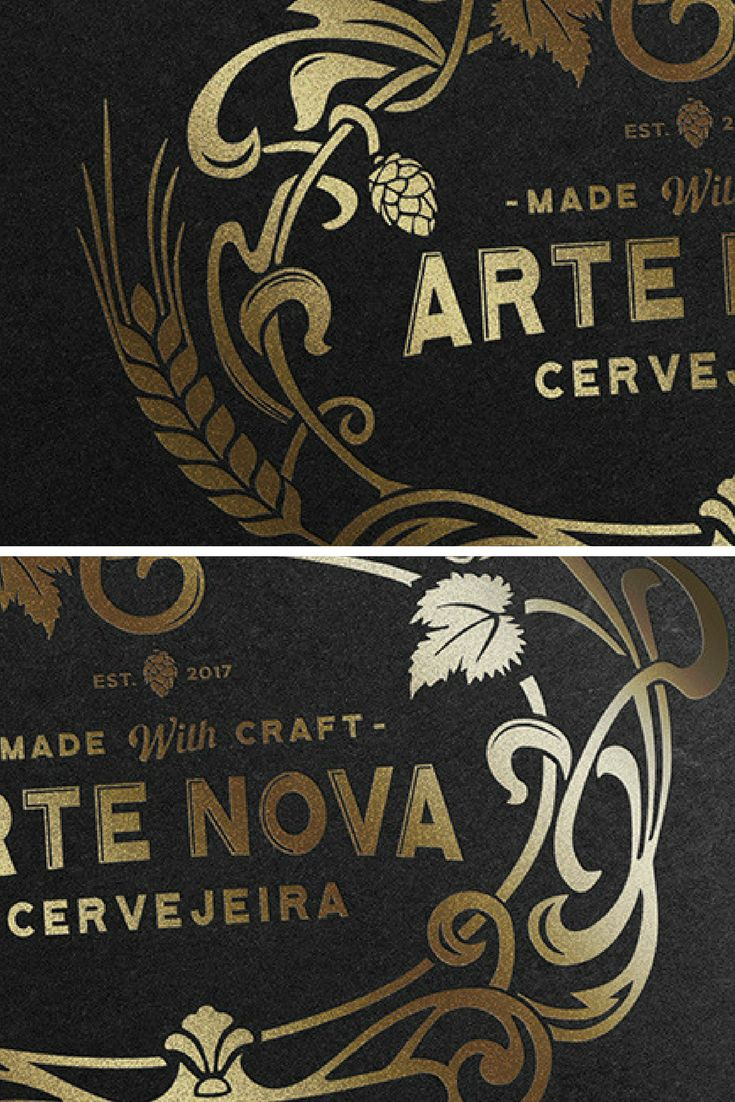 Logo design for a craft beer restaurant in Aveiro, Portugal complemented with gold illustrative details and ornaments, creating premium look.