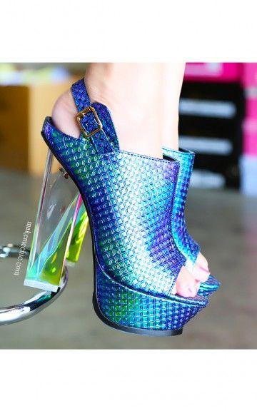 Privileged Prose Iridescent Lucite Heels BLUE