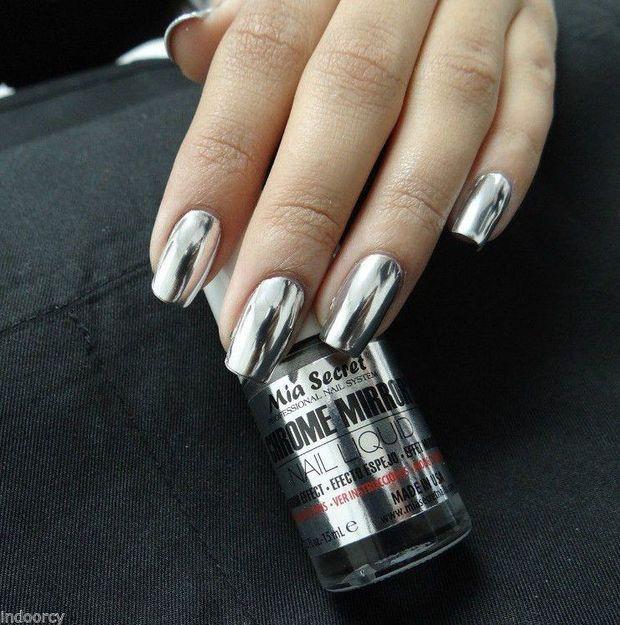 Mia Secret Chrome Mirror Nail Liquid UV Base Top Gel Set Mirror Effect Polish