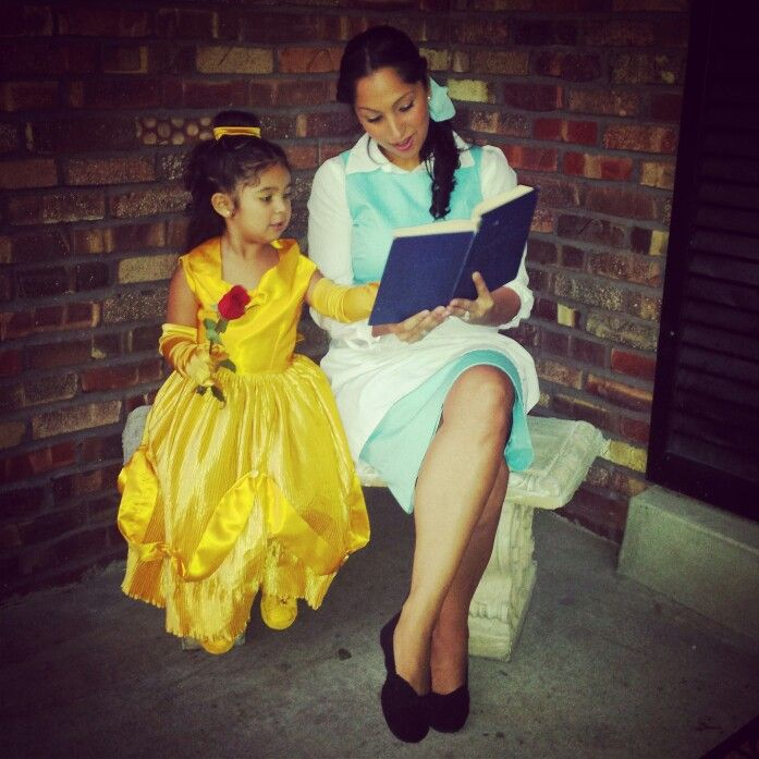 Princess Belle and Village Belle from Beauty and the Beast ♡ Mother Daughter Halloween costumes