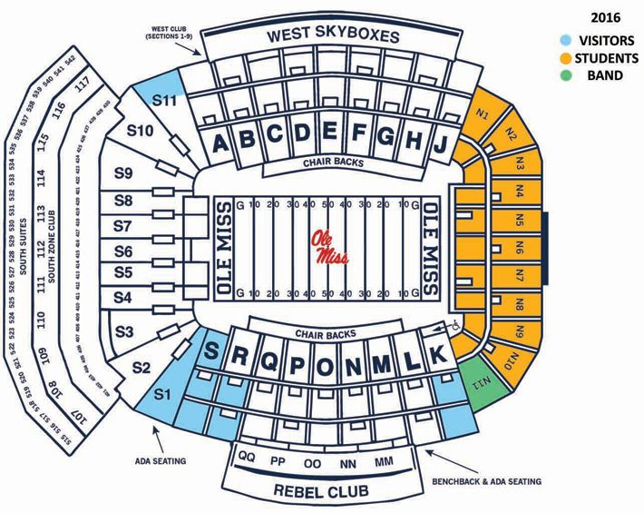 2016 Seating Chart Ole Miss Seating Chart Football