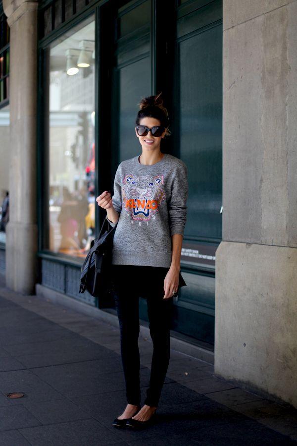 Street style: Sara wearing Kenzo jumper and Celine bag in Sydney