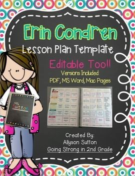 Do you LOVE your Erin Condren Lesson Planner, but like neat and orderly lesson plans that are typed? Well, this template is perfect for you then!I got my EC Lesson Planner in summer 2014, but couldn't bear the thought of not typing my lesson plans each week.