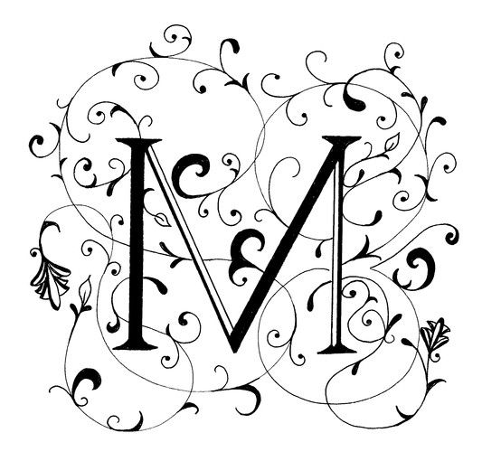 fancy letter m decorated letter by peggy markham
