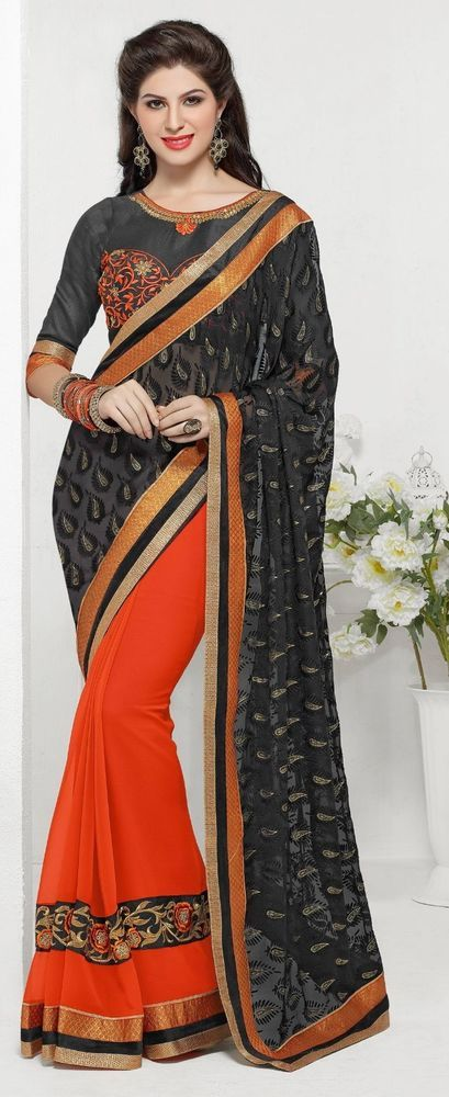 Black Party Wear Saree Orange Skirt Embroidery Work Brasso Chiffon Sari #SareeStudio #SareeSari #PartyWear