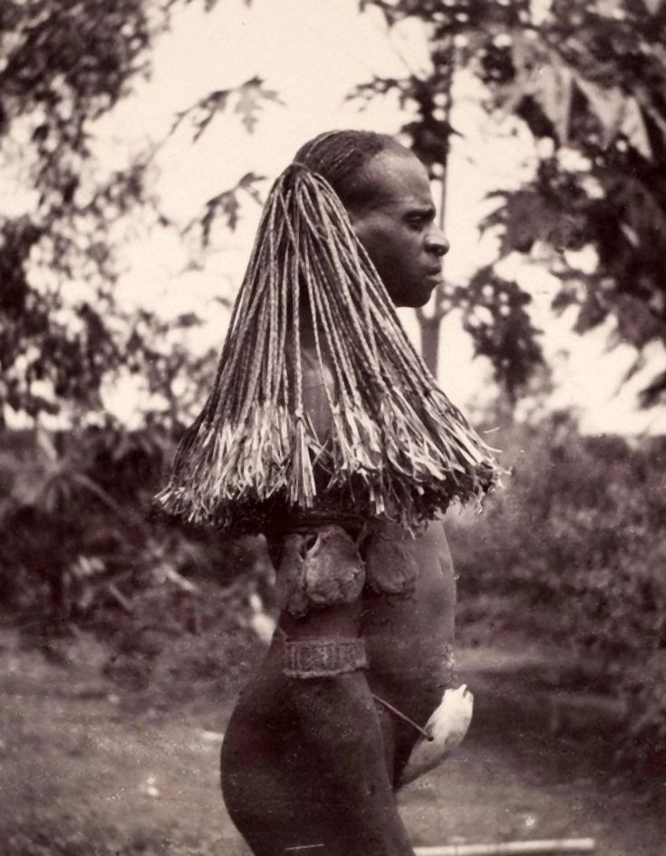 Papua (Indonesia) - Merauke Regency | Portrait of a Marind man | ca. 1910 - 1930. Photographer unknown