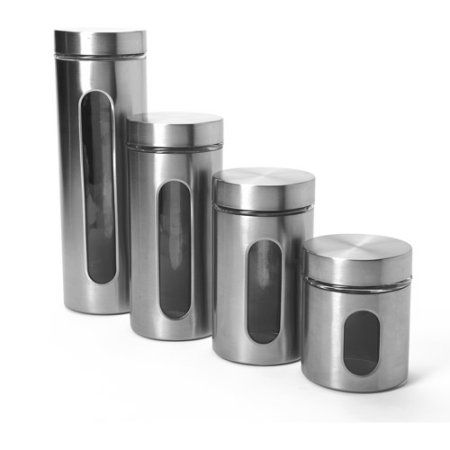 $23.39 Anchor Hocking 4-Piece Palladian Canister Set with Window, Stainless Steel