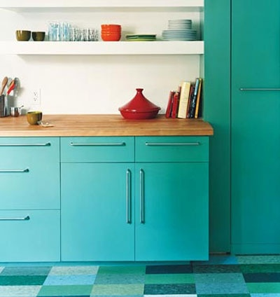 Turquoise kitchen (love the counters, shelving, cabinets and pulls, and floors)