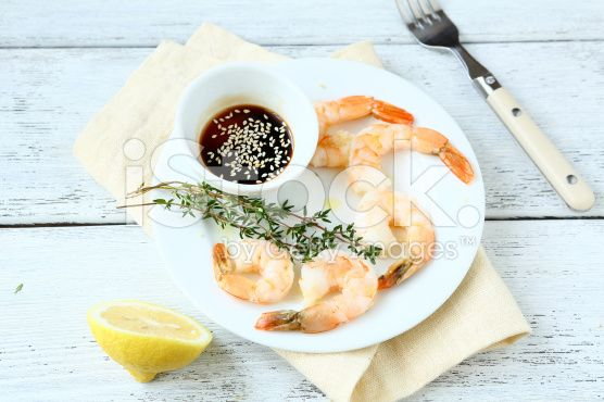 Tiger shrimps on a white plate royalty-free stock photo