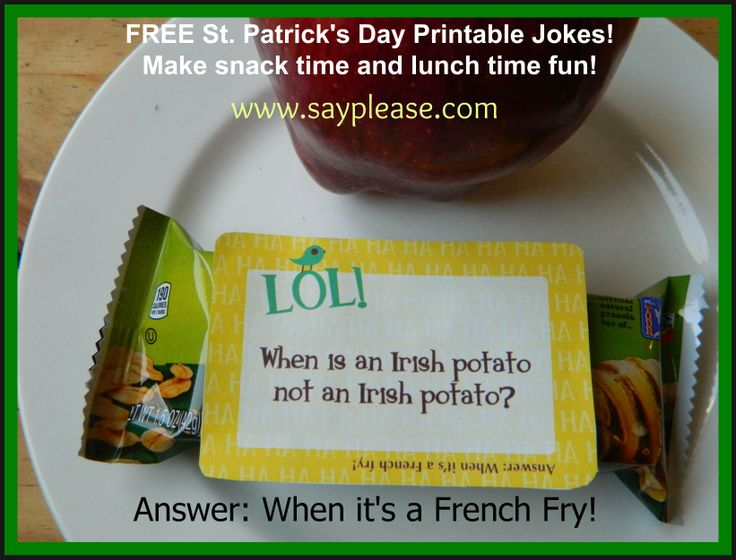 Make lunch fun for St Patrick's Day with these Free Printable Leprechaun Jokes. I put one in with Max's snack for this afternoon because I won't be home and wanted him to know I'm thinking about him. Answer: When it's a French Fry!