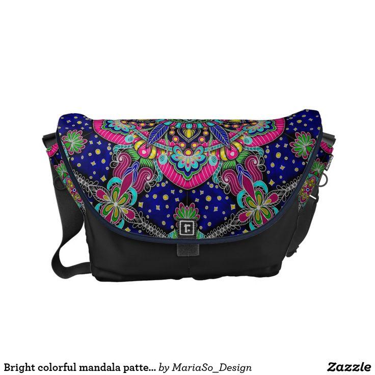 Bright colorful mandala pattern on dark blue. courier bag