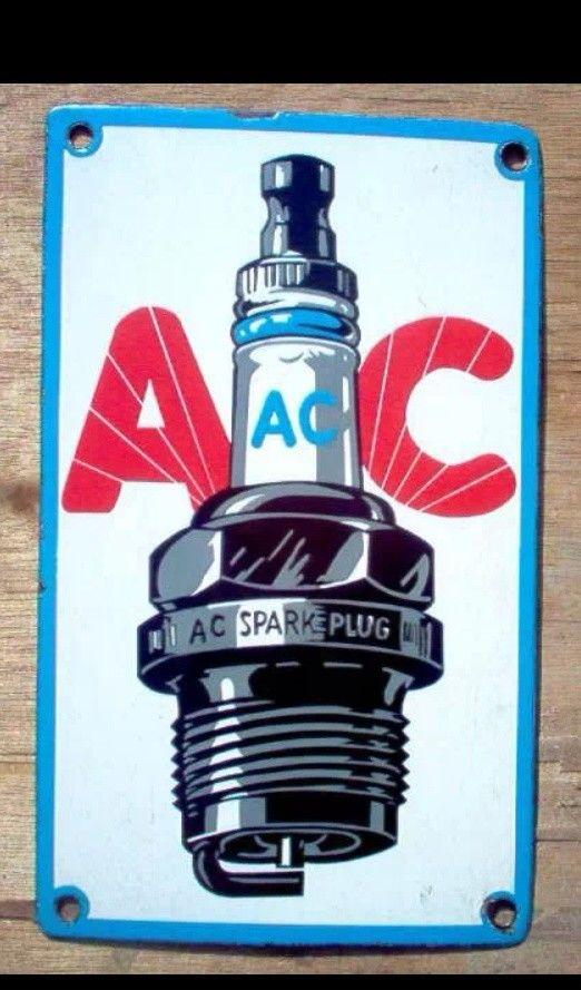 AC Sparke Plug Enamel Sign