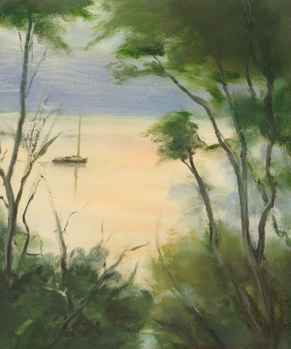 VIOLA DOMINELLO  'Yacht, Berowra Waters'   2011  oil on board  30 x 25 cm