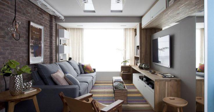 Sala de estar com sofá reclinável Azul