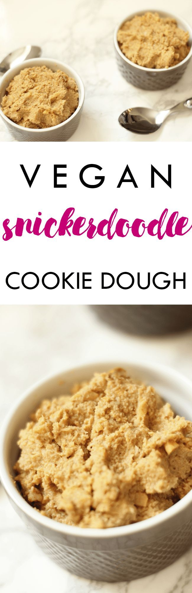 Even your mom would approve of this Vegan Dairy Free Snickerdoodle Cookie Dough! Recipe ready in minutes and serves two | Lean, Clean, & Brie