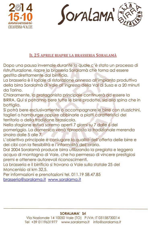 Riapertura brasseria Soralamà di Vaie (To)
