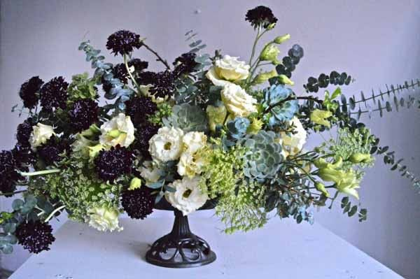 Love those black scabiosa - Wedding Wednesday :: Centerpieces in Footed Vessels