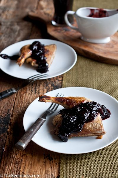 Roasted Duck Legs with Porter Cherry Sauce - perfect for Sunday dinners!